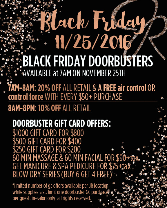 JR Spa Black Friday 2016